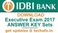IDBI Bank Executive Answer Key 2017 Download PDF