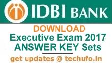 IDBI Bank Executive Answer Key 2017 Download PDF