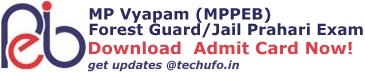 MP Vyapam Forest Guard Exam Admit Card