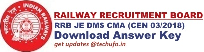 RRB JE Answer Key Download DMS CMA CBT Question Paper Solutions