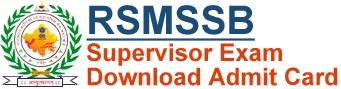 RSMSSB Supervisor Admit Card Download