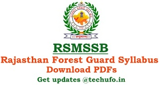 Rajasthan Forest Guard Syllabus Download RSMSSB Forester Exam Pattern Previous Papers