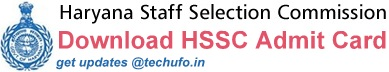 HSSC Taxation Inspector Exam Admit Card