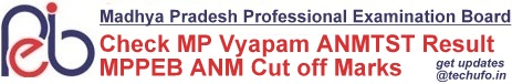 MP Vyapam MPPEB ANM Result Cut off Marks