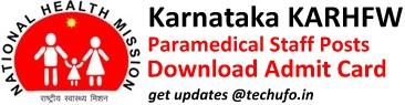 KARHFW Admit Card Download