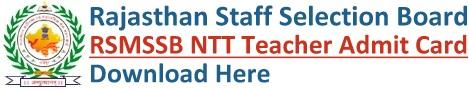 RSMSSB NTT Admit Card Download
