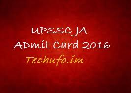 UPSSSC JA Admit card 2016