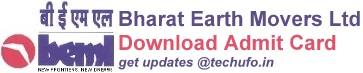 BEML Admit Card Download