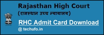 Rajasthan High Court Admit Card Download RHC JA JJA Clerk Grade II Hall Ticket