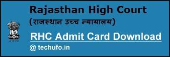 Rajasthan High Court Admit Card Download RHC JA JJA Clerk Grade II Hall Ticket