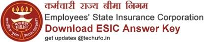 ESIC Answer Key Download PDF