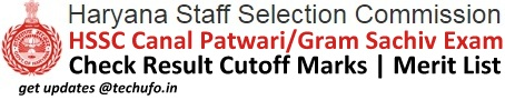 HSSC Canal Patwari Results Cutoff Marks Merit List