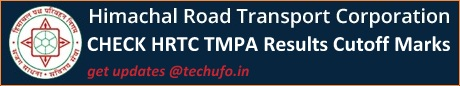 HRTC TMPA Exam Results Cut off Marks