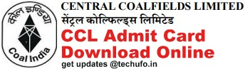 CCL Mining Sirdar Admit Card Download
