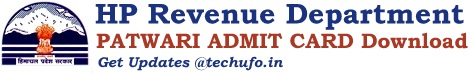 HP Patwari Admit Card  Himachal Pradesh Revenue Department Hall Ticket