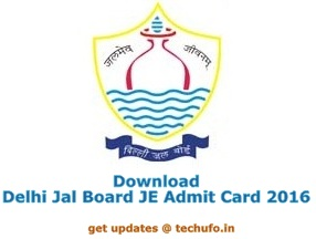 Delhi Jal Board Admit Card 2016