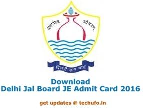 Delhi Jal Board Admit Card 2016