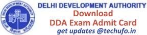 DDA Exam Admit Card Download