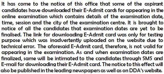 DDA Exam Dates
