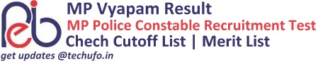 MP Vyapam Police Constable Recruitment Test Result Cutoff Marks Merit List