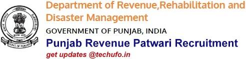 Punjab Revenue Patwari Recruitment Notification Online Application Form
