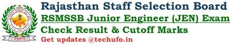 RSMSSB Rajasthan JEN Result Junior Engineer Cutoff Marks Merit List