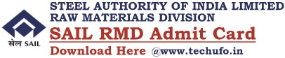 SAIL RMD Admit Card Download Call Letter