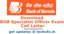 Bank of Baroda Specialist Officer Admit Card 2016 2017