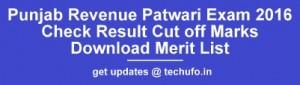 Punjab Revenue Patwari Result 2016 2017