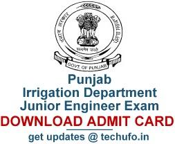 Punjab Irrigation Dept Junior Engineer Admit Card 2016 2017
