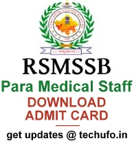 RSMSSB Para Medcial Staff Exam Admit Card