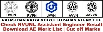 RVUNL AE Result Rajasthan Energy Department AEN Results Cut off Marks RVPN AVVN JVVN Assistant Engineer Merit List