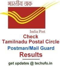 TN Postal Circle Postman Mail Guard Result