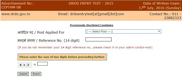 DRDO CEPTAM-08 Results