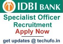 IDBI Specialist Officer Recruitment