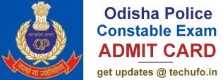 Odisha Police Constable Exam Admit Card Download