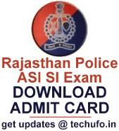 Rajasthan Police ASI SI Exam 2017 Admit Card