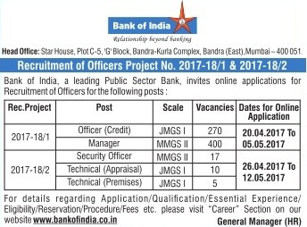 Bank of India Specialist Officer Notification