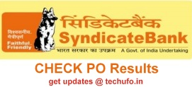 SyndicateBank PO Result