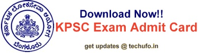 KPSC Exam Admit Card Hall Ticket