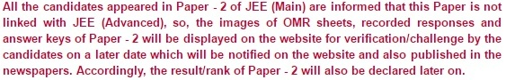 JEE Main Paper 2 Exam Result Release Date Information