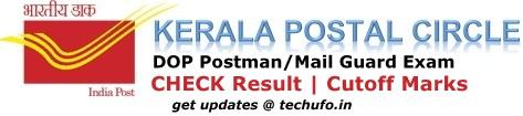 DOP Kerala Postal Postman Mail Guard Exam Result Cutoff Marks