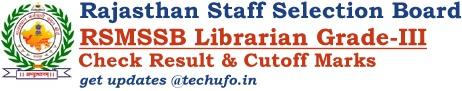 RSMSSB Librarian Result Grade III Cutoff Marks Merit List