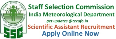 SSC IMD Scientific Assistant Recruitment Apply Online