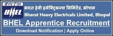 BHEL Bhopal Apprentice Recruitment Notification Online Application Form Apply