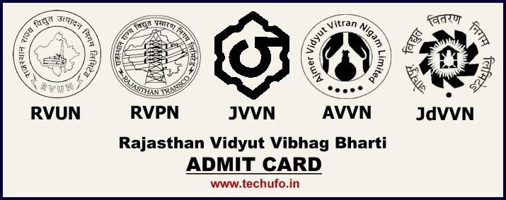 RVUNL Admit Card Download JEN AEN IA Jr Chemist Call Letter JVVNL Hall Ticket