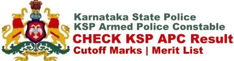 KSP Armed Police Constable Result Cut off Marks Merit List Download