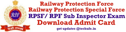RPF SI Admit Card Download