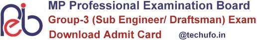 MP Vyapam Sub Engineer Admit Card Download MPPEB Draftsman Hall Ticket