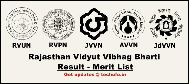RVUNL JEN Result Rajasthan Vidyut Vibhag RVPN AVVN JVVNL JdVVN JE Merit List Cutoff Marks